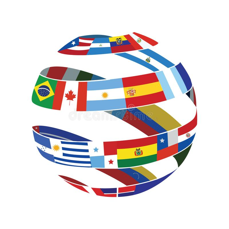 Globe de drapeau illustration de vecteur