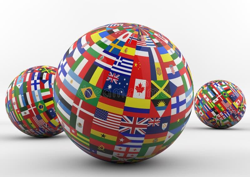 Globe de drapeau avec différents drapeaux de pays illustration de vecteur