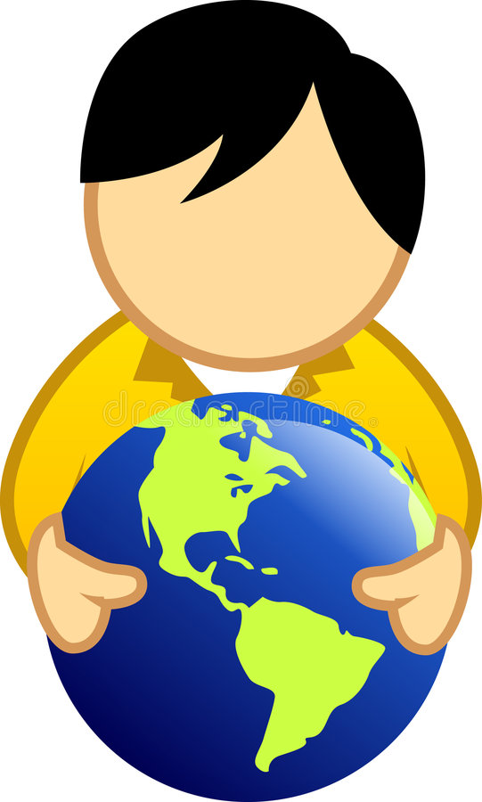 Globe de fixation d'homme illustration libre de droits