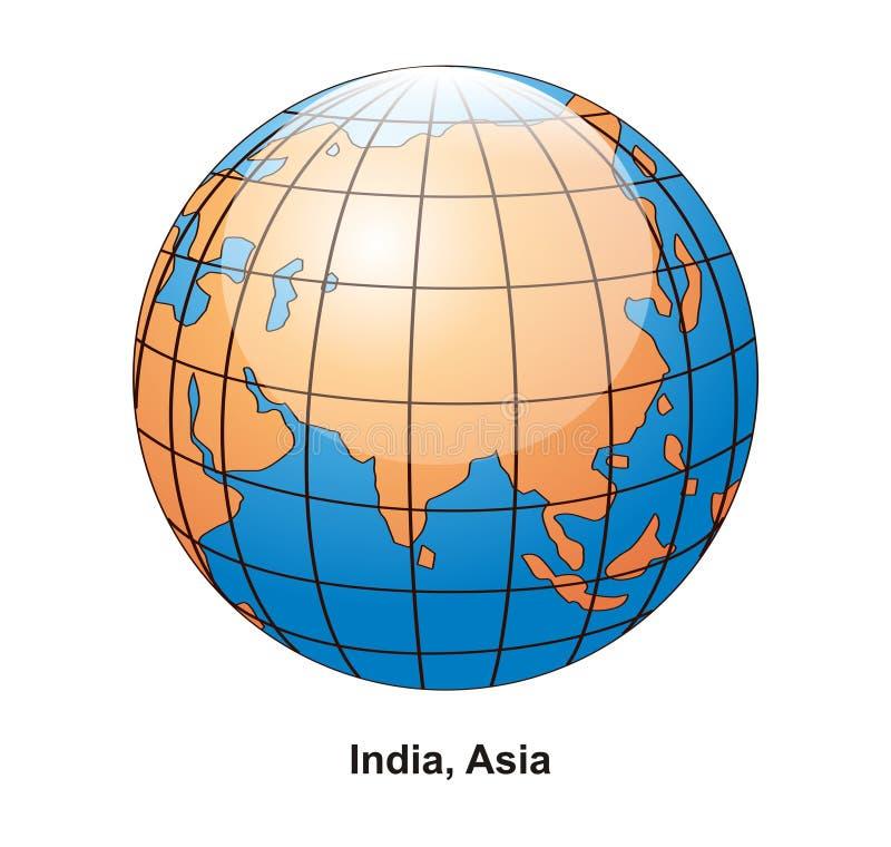 Globe de l'Inde et de l'Asie illustration stock