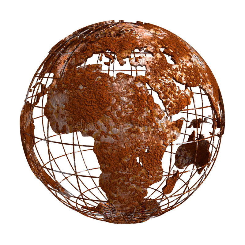 Globe de la planète 3D de Rusty Earth illustration stock