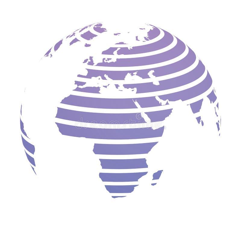 Globe de la terre avec la carte rayée bleue de terre du monde concentrée sur l'Afrique et l'Europe illustration du vecteur 3d illustration libre de droits
