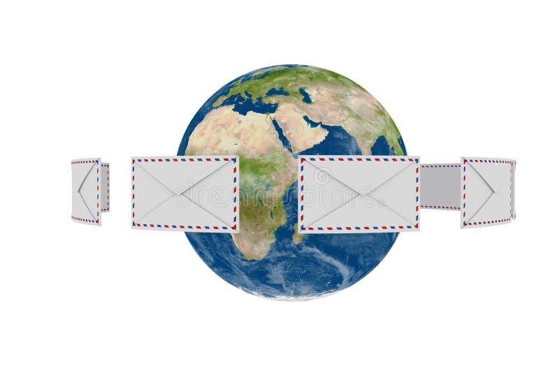 Globe de la terre avec des lettres de vol autour illustration libre de droits