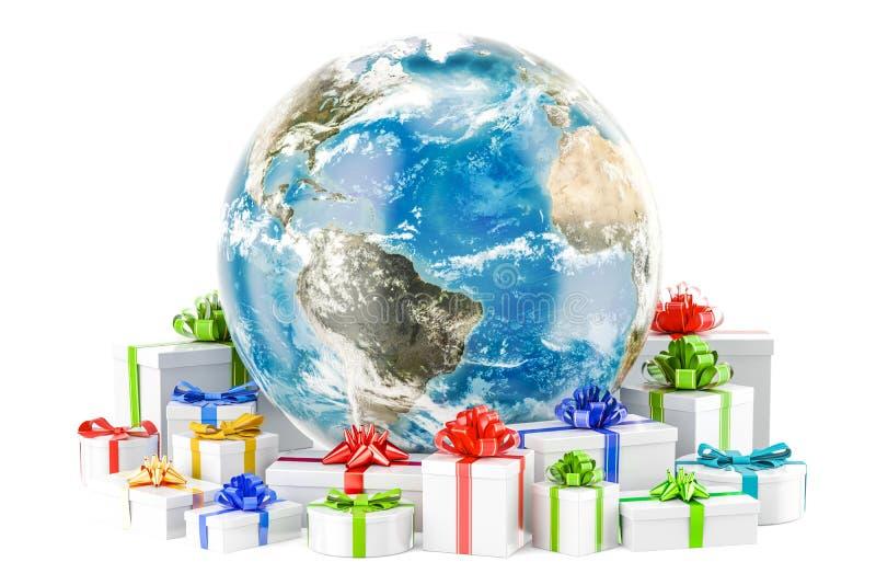 Globe de la terre avec des présents Concept de Noël global et de nouvelle année illustration de vecteur