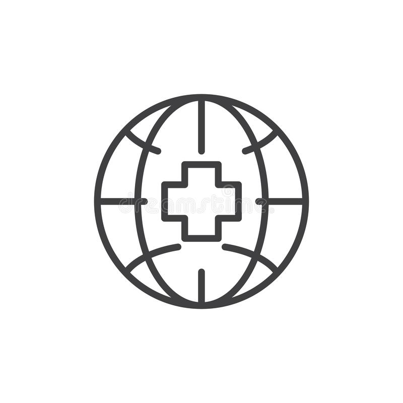 Globe de la terre avec l'icône croisée médicale d'ensemble illustration stock