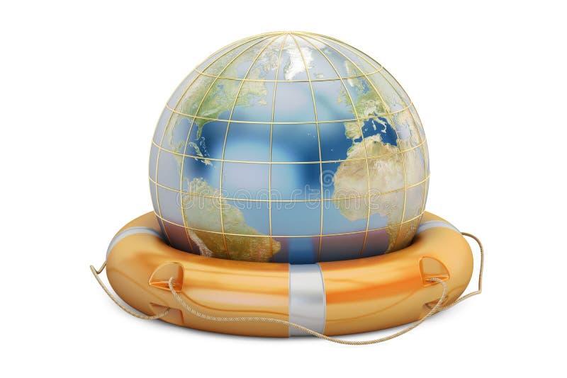 Globe de la terre avec la bouée de sauvetage Sauvez le concept du monde, le rendu 3D illustration libre de droits
