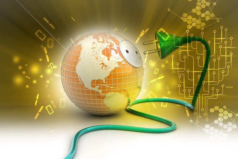 Globe de la terre avec le cable électrique illustration stock