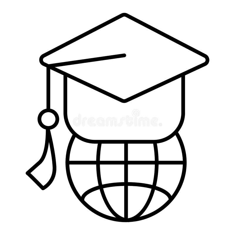 Globe de la terre avec le chapeau scolaire Icône linéaire Conception d'ensemble illustration de vecteur