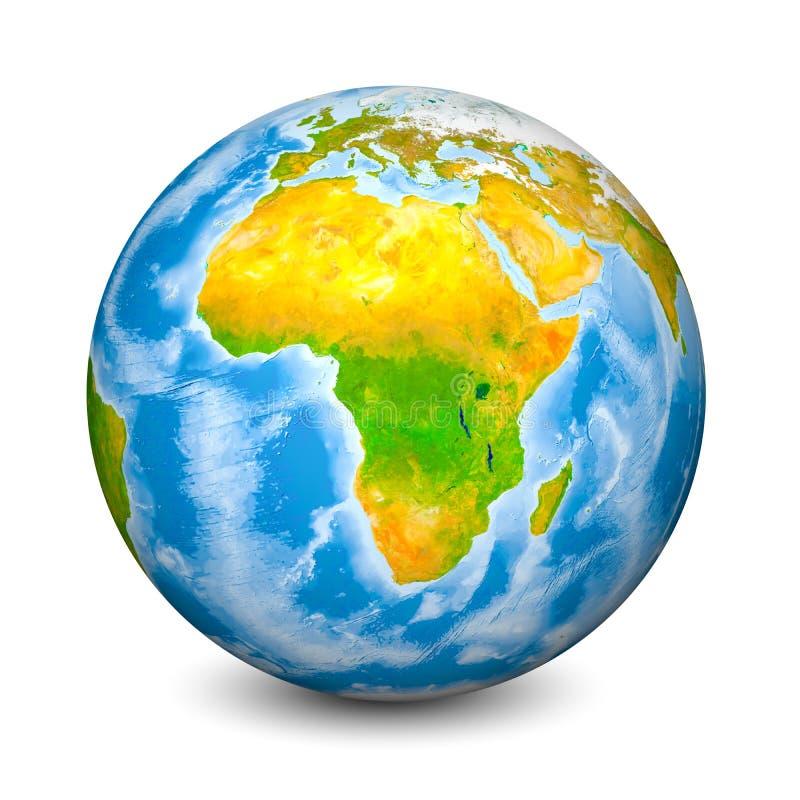 Globe de la terre concentré sur l'Afrique Terres et océans topographiques réalistes avec la bathymétrie objet 3D d'isolement sur  illustration stock
