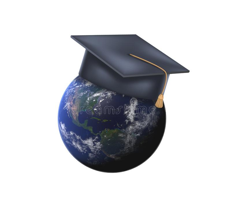 globe de la terre 3d avec le chapeau d'obtention du diplôme Concept d'?ducation globale, programme international d'?change d'?tud illustration de vecteur