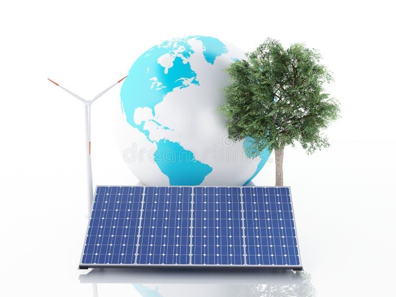 globe de la terre 3d blanc d'isolement par énergie d'eco de concept de fond illustration libre de droits