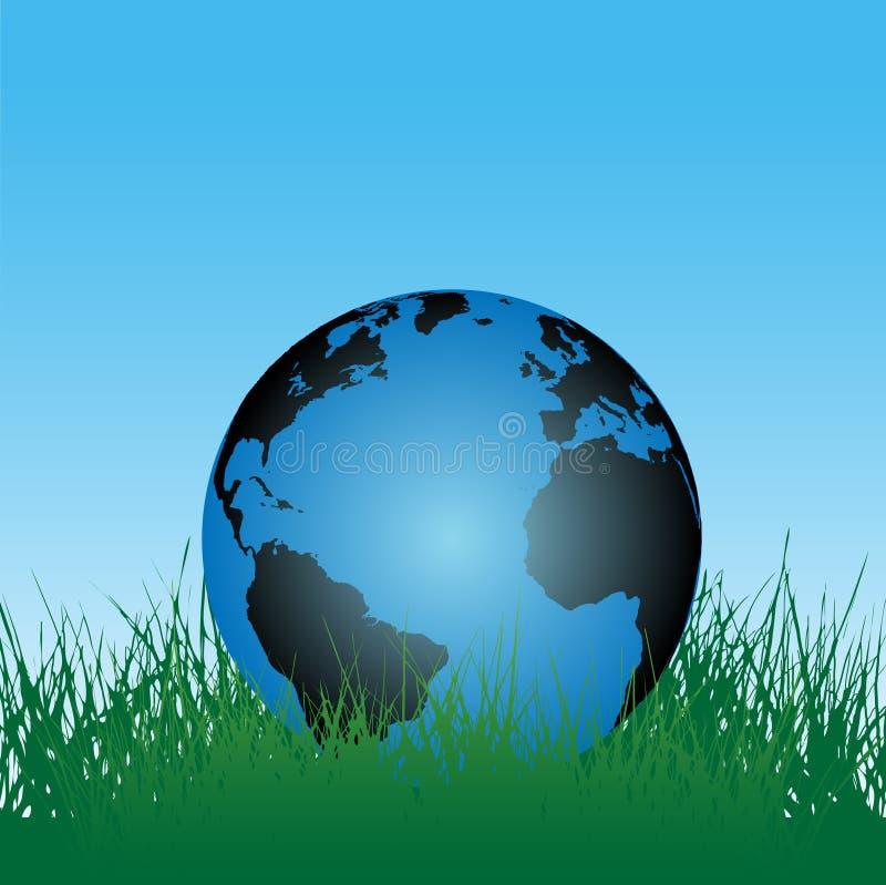 Globe de la terre dans l'herbe verte illustration stock