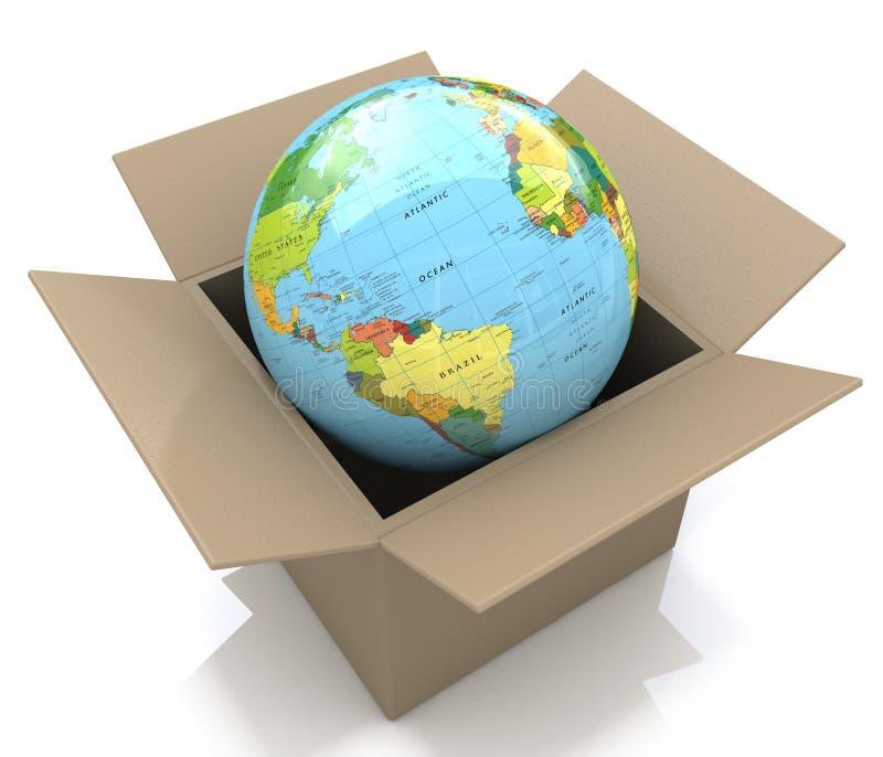 Globe de la terre dans la boîte en carton illustration libre de droits