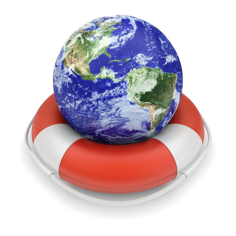 Globe de la terre dans lifebuoy illustration stock