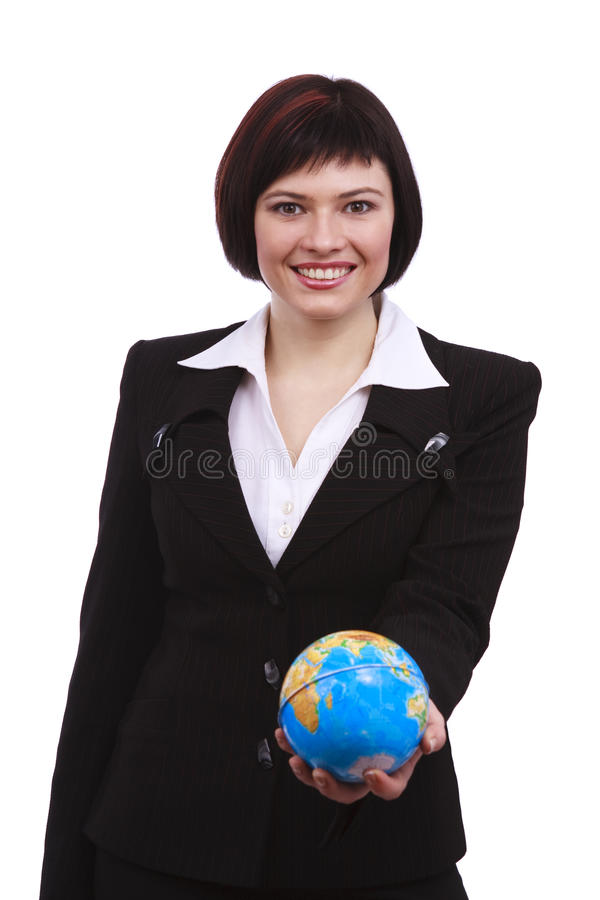 Globe de la terre de fixation de femme d'affaires sur une main photo stock
