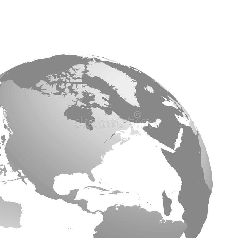 globe de la terre de la planète 3D Sphère transparente avec les silhouettes grises de terre Cultivé et concentré sur l'Amérique d illustration stock