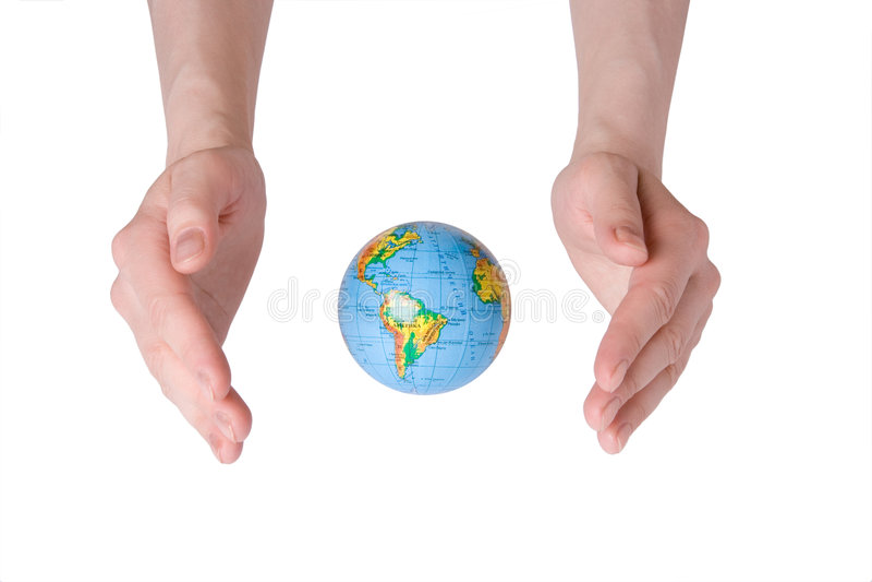 Globe de la terre de soin de main images stock