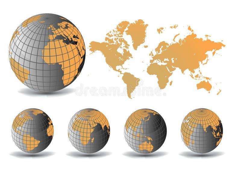Globe de la terre et fond de carte illustration de vecteur