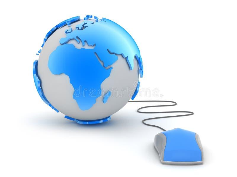 Globe de la terre et souris d'ordinateur illustration stock
