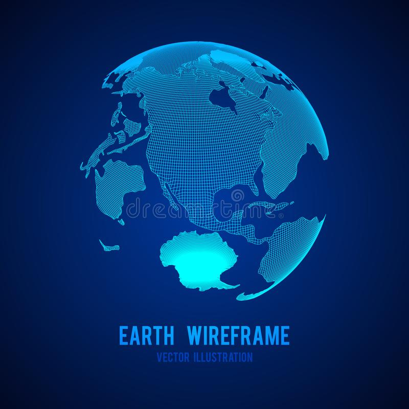 Globe de la terre de planète de Wireframe illustration stock