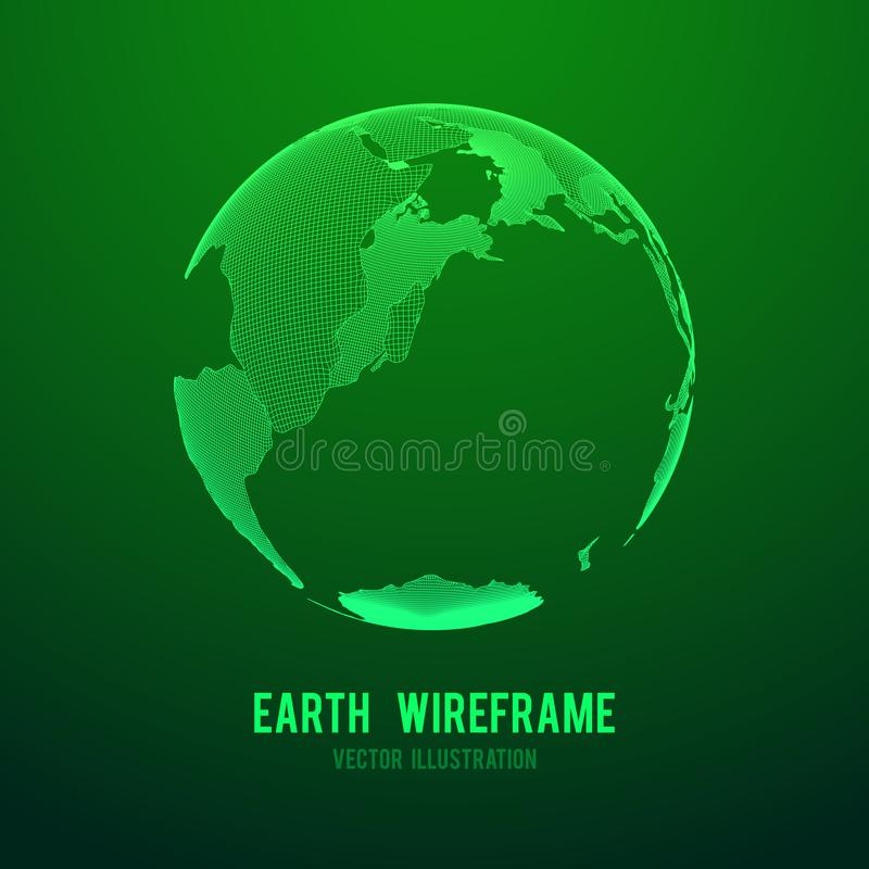 Globe de la terre de planète de Wireframe illustration de vecteur