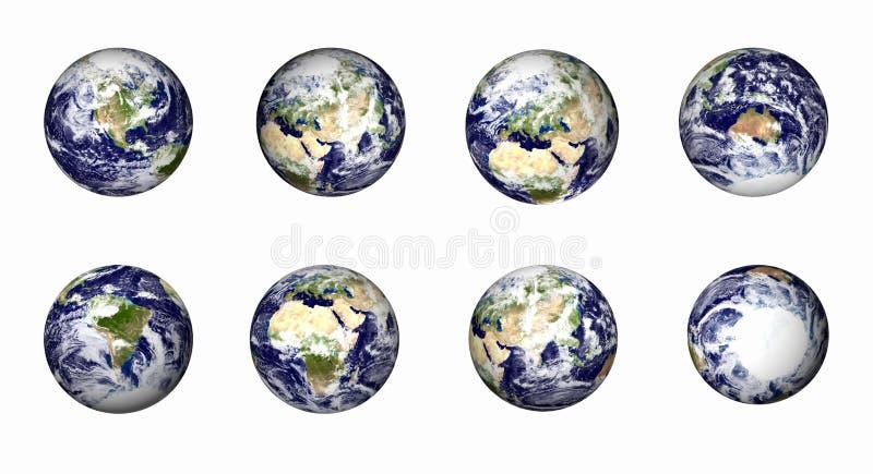 Globe de la terre réglé à de divers points de vue illustration de vecteur