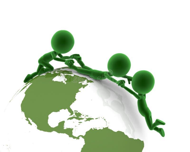 Globe de la terre, support de gens illustration de vecteur