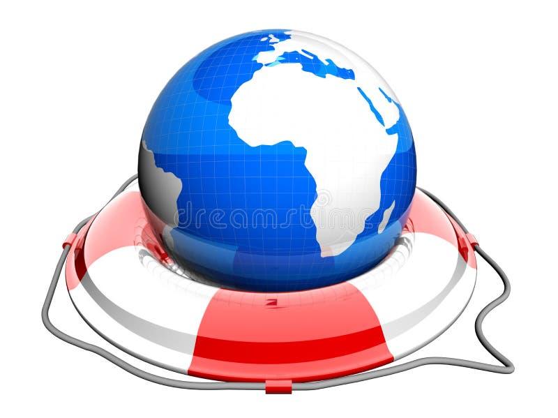 Globe de la terre sur la bouée de sauvetage illustration de vecteur