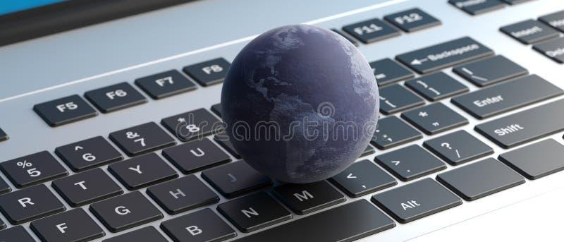 Globe de la terre sur le fond de clavier d'ordinateur illustration 3D illustration libre de droits