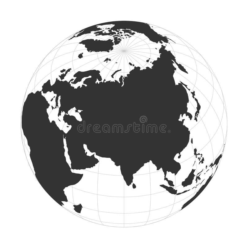 Globe de la terre de vecteur concentré sur le continent de l'Asie illustration stock