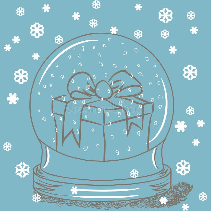 Globe de neige avec le cadre de cadeau à l'intérieur illustration libre de droits