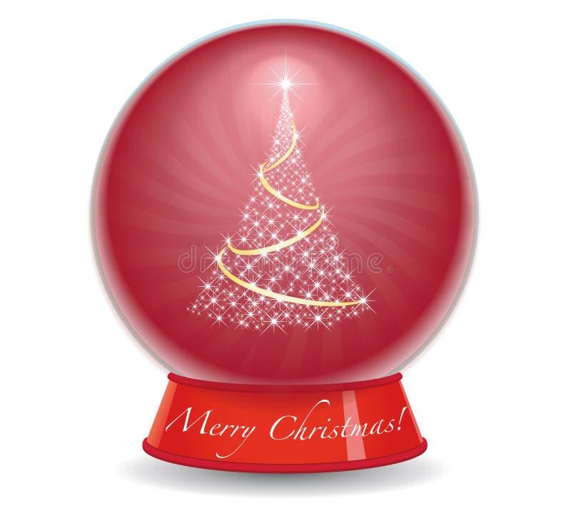 Globe de neige d'arbre de Noël illustration de vecteur