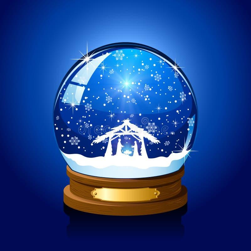 Globe de neige de Noël avec la scène chrétienne illustration de vecteur