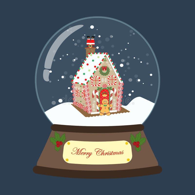 Globe de neige de Noël avec l'illustration de maison de pain d'épice illustration stock
