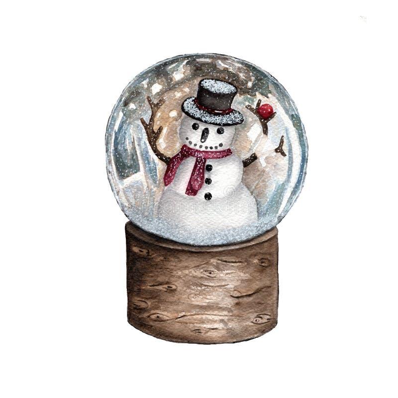 Globe de neige de Noël d'aquarelle avec le bonhomme de neige Conception pour l'affiche ou la carte de voeux illustration libre de droits