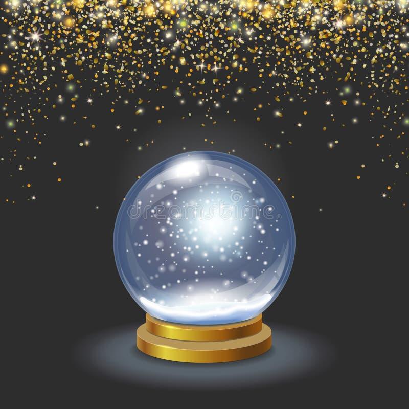 Globe de neige de Noël sur l'illustration éclatante en baisse du vecteur 3d de confettis d'or de fond noir illustration stock