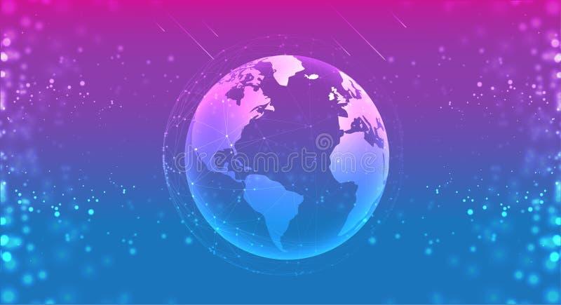Globe de planète de la terre dans le bleu pourpre de l'espace les systèmes de connexions rayent la composition autour du concept  illustration de vecteur