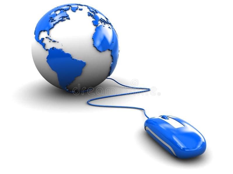 Globe de souris et de terre illustration de vecteur