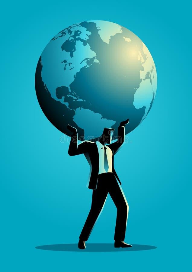 Globe de transport d'homme d'affaires sur son épaule illustration stock
