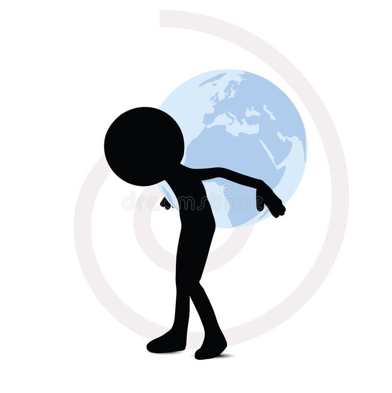 globe de transport de l'homme 3d derrière illustration de vecteur