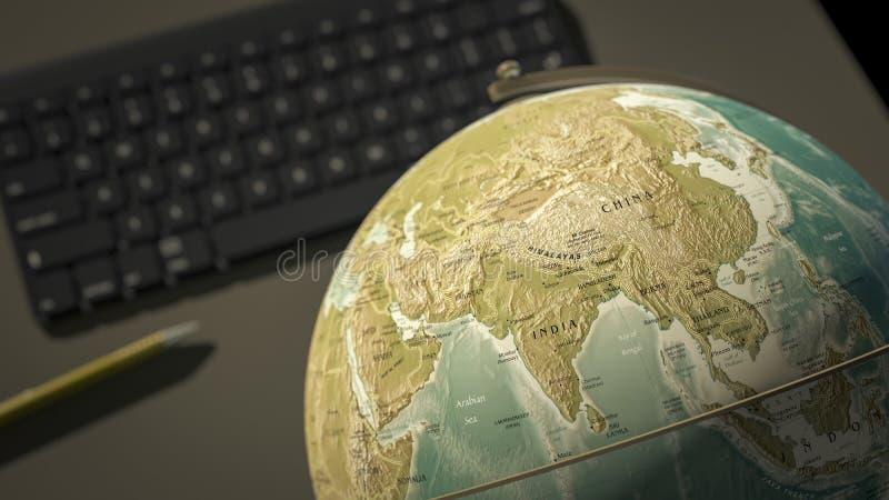 globe on a desktop shows India vector illustration