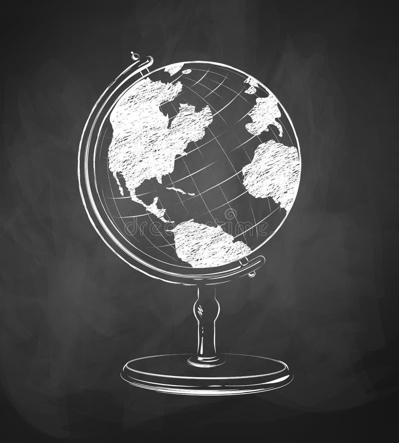 Globe dessiné sur le tableau illustration libre de droits