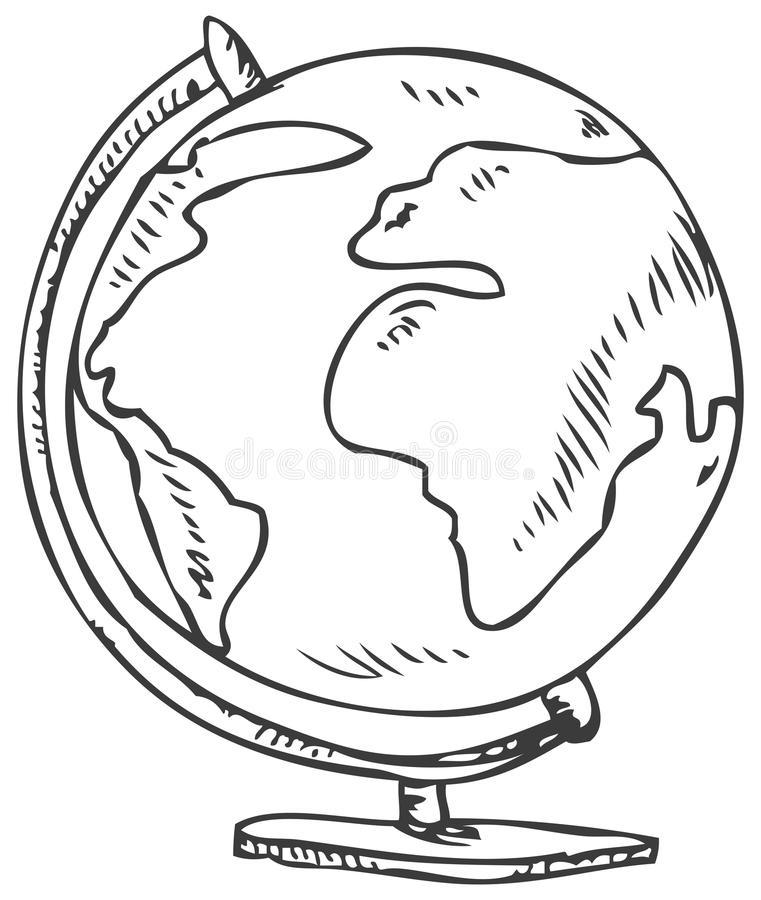 Line Drawing Globe : Globe doodle stock vector illustration of childish earth