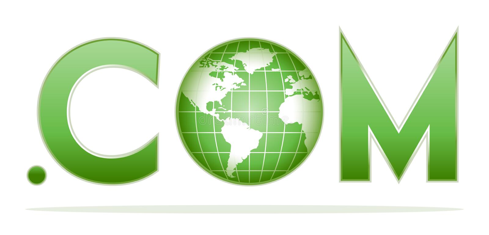 Globe with dot com. In green colors royalty free illustration