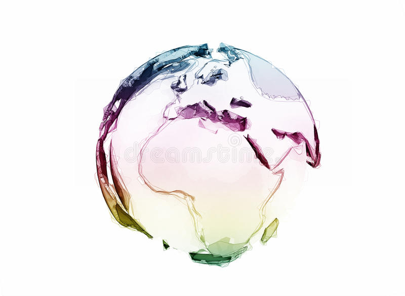 globe du monde 3d d'isolement sur le blanc illustration de vecteur
