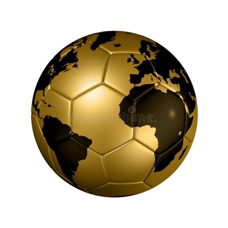 Globe du monde de bille du football du football d'or illustration stock