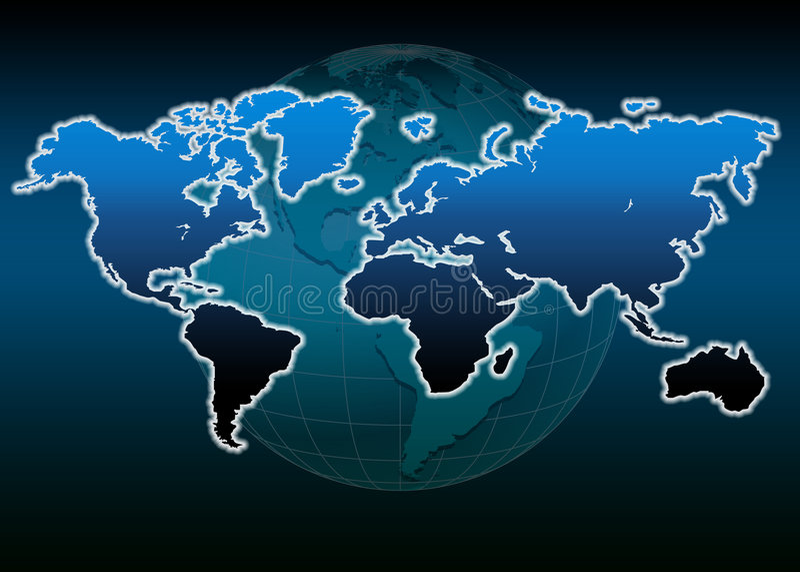 Globe du monde de carte du monde illustration stock