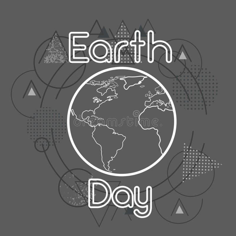 Globe du monde de jour de terre au-dessus de fond géométrique de triangle illustration libre de droits
