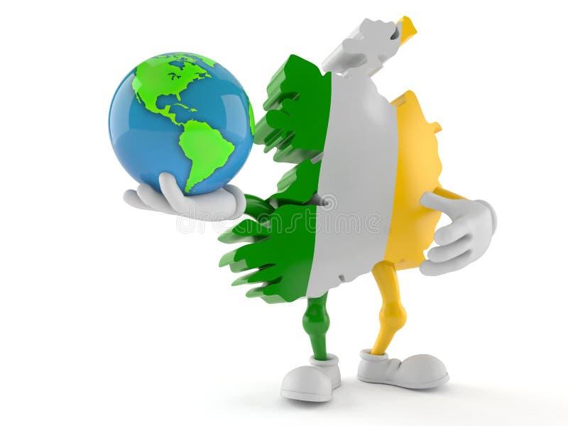 Globe du monde de participation de caractère de l'Irlande illustration de vecteur