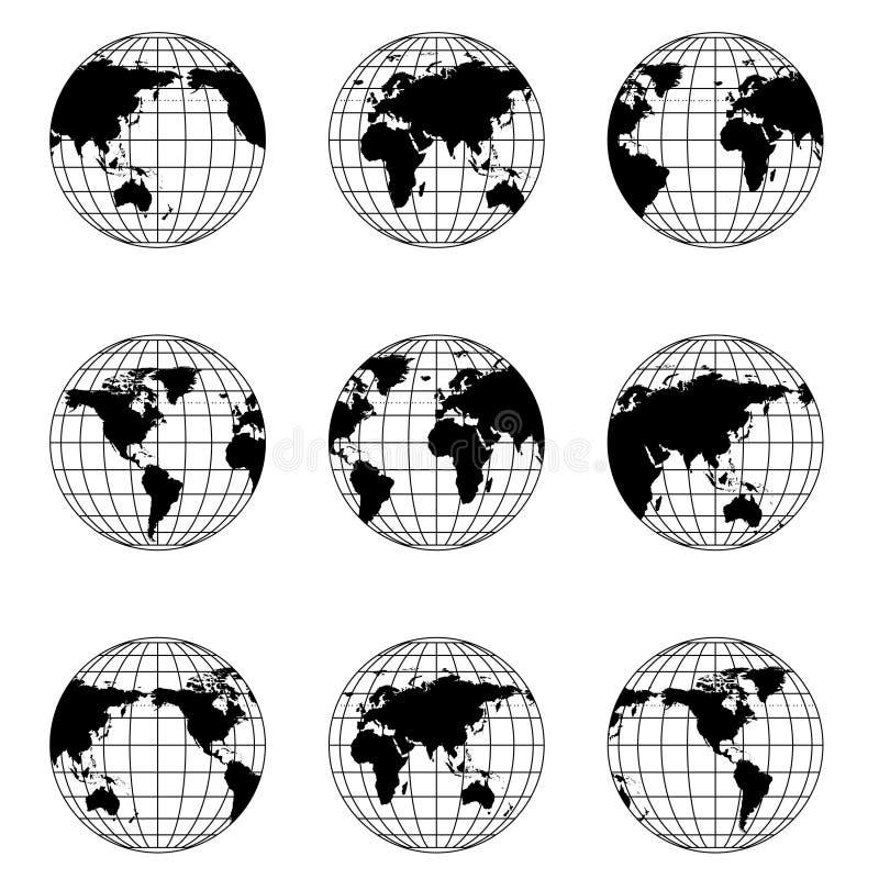 Globe du monde en position différente illustration de vecteur